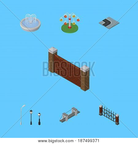 Isometric Architecture Set Of Swing Attraction, Park Decoration, Street Lanterns And Other Vector Objects. Also Includes Water, Bridge, Rotation Elements.
