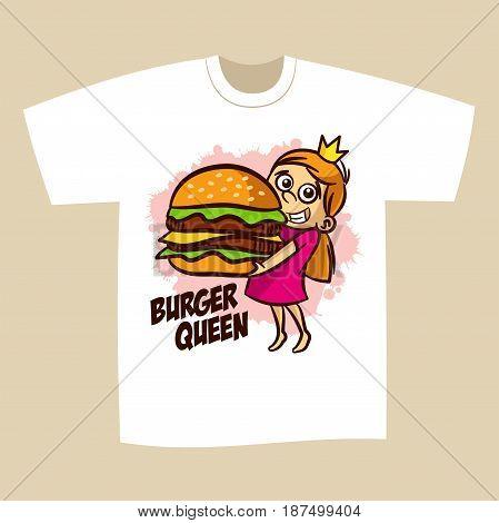 T-shirt Print Design Burger Queen Vector Illustration