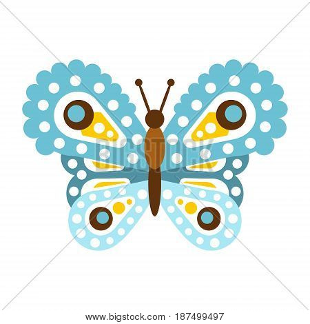 Light blue beautiful butterfly vector Illustration isolated on a white background