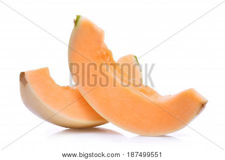 slice of honeydew melon(sunlady) isolated on white background