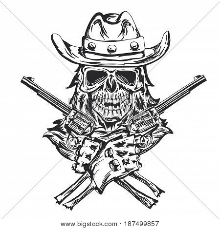 Cowboy skull ath the hat with two guns at the hands. Hand drawn black and white illustration.