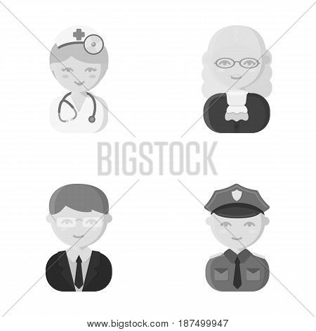 Doctor, judge, business, police.Profession set collection icons in monochrome style vector symbol stock illustration .