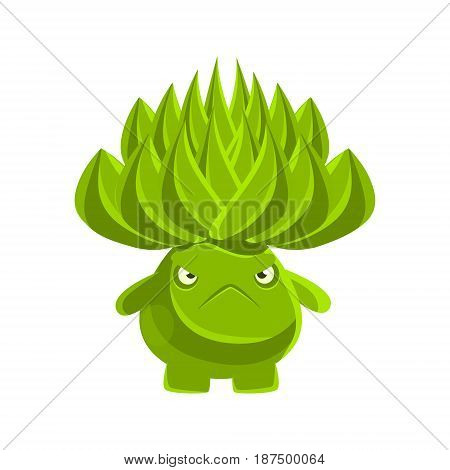 Green cute cactus with sad face. Cartoon emotions character vector Illustration isolated on a white background