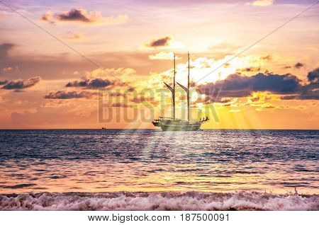 Beach sand and boat seascape landscape nature in twilight with colorful of sea sunset and sunbeam