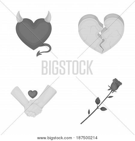 Evil heart, broken heart, friendship, rose. Romantic set collection icons in monochrome style vector symbol stock illustration .