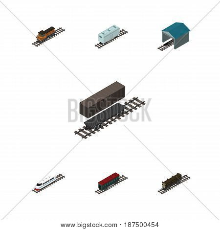 Isometric Train Set Of Train, Delivery Tank, Railroad Carriage And Other Vector Objects. Also Includes Wood, Locomotive, Depot Elements.