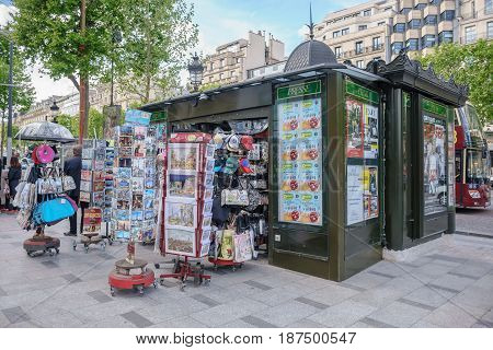 Paris France - May 1 2017: A souvenir shop located along the footpath on the Champs - Elysees Avenue on May 1 2017 in Paris France.