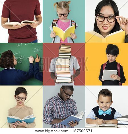 Collages diverse people study education