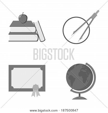 Books, an apple, a compass with a circle, a diploma with a seal, a globe. School set collection icons in monochrome style vector symbol stock illustration .