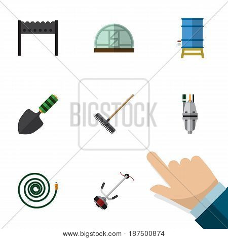 Flat Garden Set Of Grass-Cutter, Harrow, Pump And Other Vector Objects. Also Includes Lawn, Hothouse, Trowel Elements.