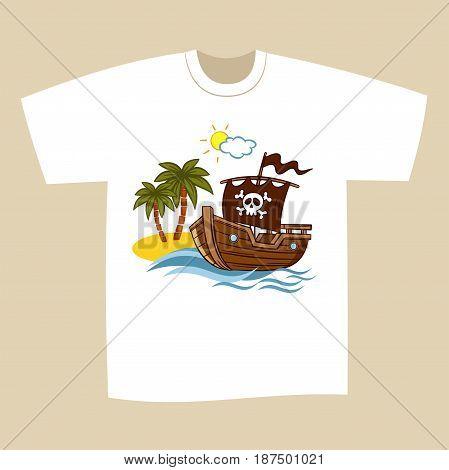 T-shirt Print Design Cartoon Pirate Vector Illustration