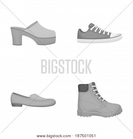 Flip-flops, clogs on a high platform and heel, green sneakers with laces, female gray ballet flats, red shoes on the tractor sole. Shoes set collection icons in monochrome style vector symbol stock illustration .