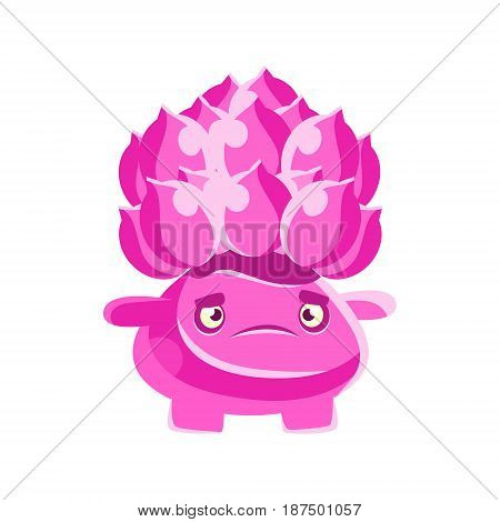 Cute pink cactus with a frustrated face. Cartoon emotions character vector Illustration isolated on a white background
