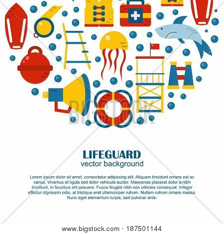 Vector Cartoon Flat Lifeguard Background