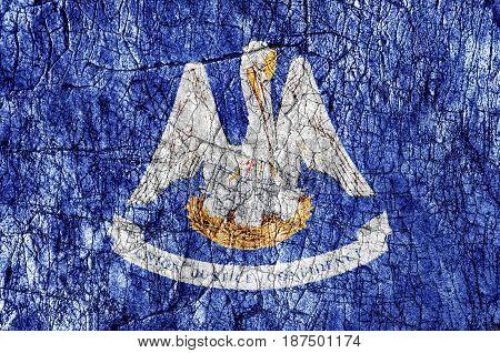 Grudge stone painted US Louisiana flag close