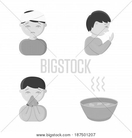 A man with a bandaged head, a man coughing, a man snorts a snot, a bowl, a bowl of hot broth into a handkerchief. Sick set collection icons in monochrome style vector symbol stock illustration .