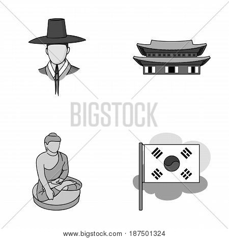 Korean in national headdress, Korean monastery, Buddha figurine, national flag. South Korea set collection icons in monochrome style vector symbol stock illustration .