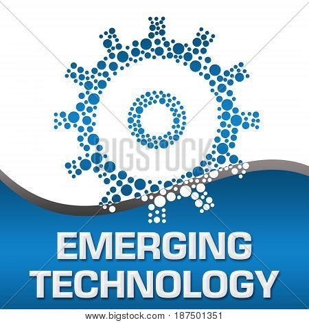 Emerging technology concept image with text and gear symbol.