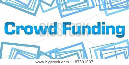 Crowd funding text written over blue background.