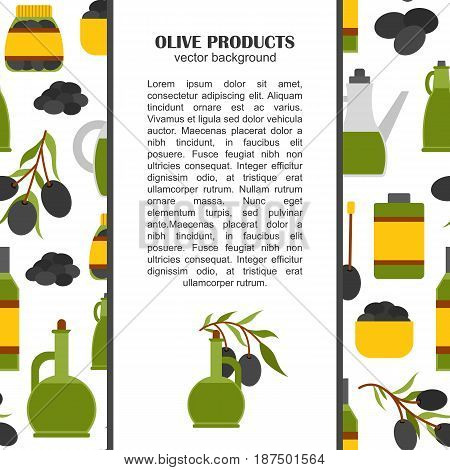 Vector Flat Cartoon Olives Background