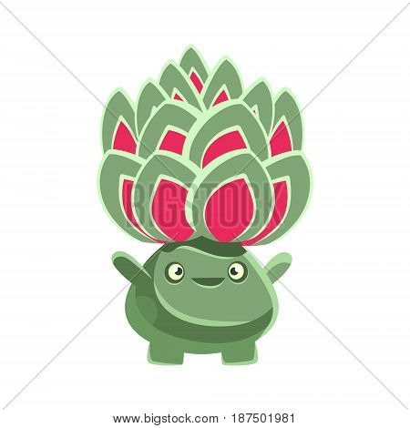 Cute benevolent succulent emoji. Cartoon emotions character vector Illustration isolated on a white background