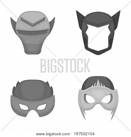 Helmet, mask on the head.Mask super hero set collection icons in monochrome style vector symbol stock illustration .