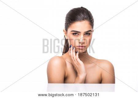 Beautiful Woman Face Close Up Studio On White. Beauty Spa Model Female, Clean Fresh Perfect Skin Clo