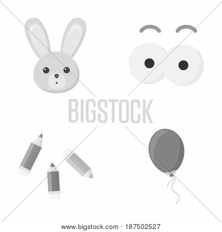 Rabbit with long ears, colored pencils for drawing, blue air balloon, eye toys with eyebrows. Toys set collection icons in monochrome style vector symbol stock illustration .