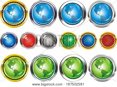 Earth.Buttons in the form of the planet. Set of web buttons with arrows pointing in silver and gold edging. Buttons in vector form