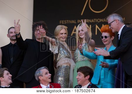 Nicole Kidman, Elle Fanning and movie cast at the How To Talk To Girls At Parties premiere for at the 70th Festival de Cannes. May 21, 2017  Cannes, France