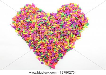 colorful heart made from tiny stone
