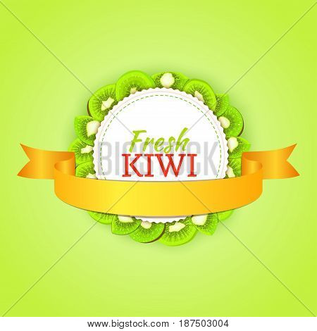 Round colored frame composed of delicious kiwi fruit and gold ribbon. Vector card illustration. Circle kiwifruit frame. Ripe fresh kiwis fruits for packaging design of juice, breakfast food detox diet