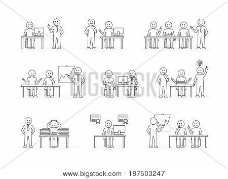 Office illustration set on white background. People work and discuss. Black and white.