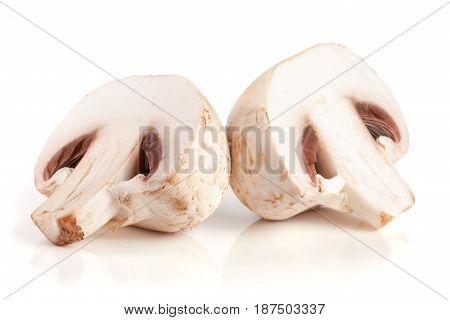 champignon mushrooms half isolated on white background.
