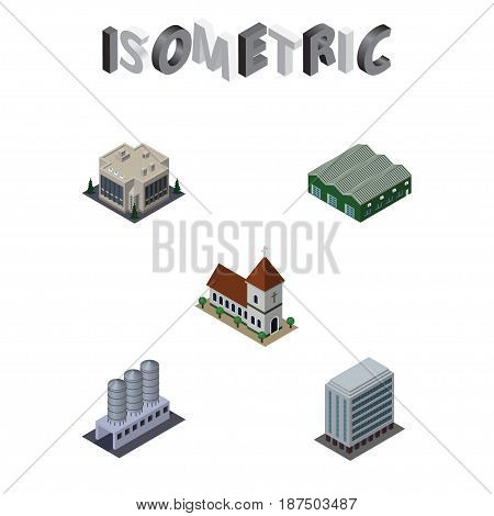 Isometric Urban Set Of Company, Water Storage, Office And Other Vector Objects. Also Includes Chapel, Depot, House Elements.