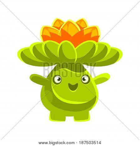 Cute smiling cactus emoji with flowers on his head. Cartoon emotions character vector Illustration isolated on a white background