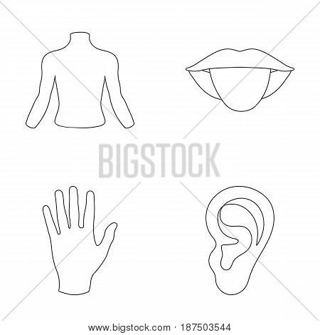 Back of the person, mouth, hand, ear. Part of the body set collection icons in monochrome style vector symbol stock illustration .