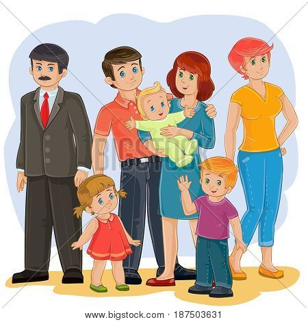 Vector illustration of a happy family of seven people - grandfather, grandmother, dad, mom, daughter, son and baby - posing together