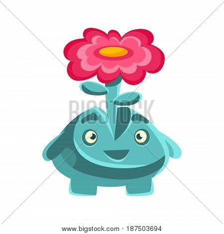 Cute friendly plant with a flower on his head. Cartoon emotions character vector Illustration isolated on a white background