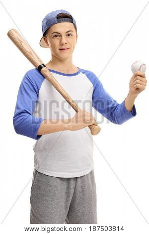 Teenage boy with a baseball and a bat looking at the camera isolated on white background