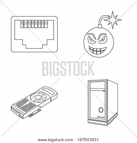Virus, system unit and other components. Personal computer set collection icons in outline style vector symbol stock illustration .