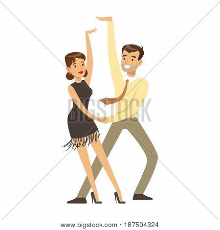Young couple dancing colorful character vector Illustration isolated on a white background