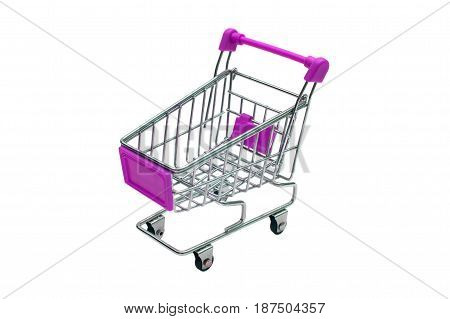 miniature purple trolley supermarket isolated on white background