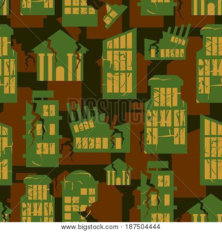 destroyed Buildings seamless military pattern. city house khaki background. town Army protective ornament