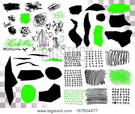 Vector Set of brush acrylic strokes. Black green color on white background. Hand painted grange elements. Ink drawing. Dirty artistic design . Place for text, quote, information, company name
