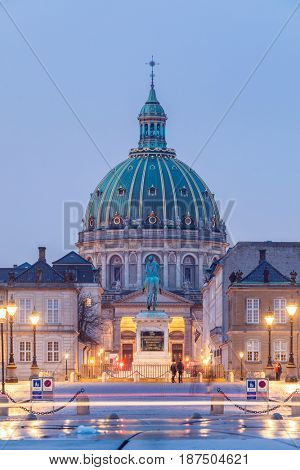 Frederik's Church at Copenhagen town square in Denmark