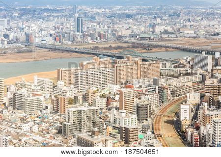 Aerial view of Osaka skyline building Cityscape Japan