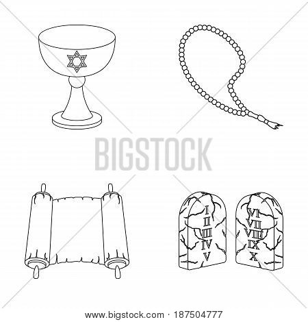 A cup of wine, Islamic beads, ten commandments, tanakh. Religion set collection icons in outline style vector symbol stock illustration .