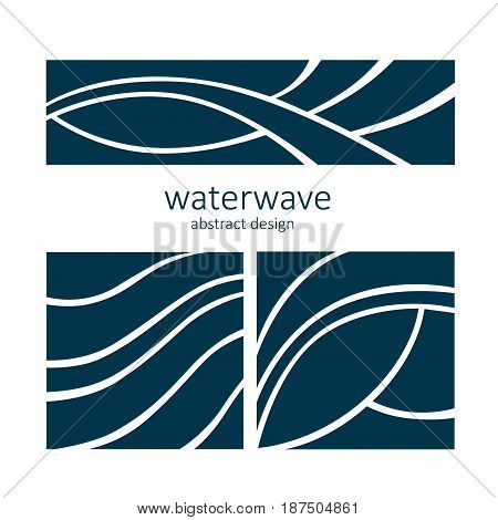 Set Water Wave Logo abstract design. Cosmetics Surf Sport Logotype concept. Aqua icon.