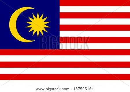 Flag of Malaysia is a member of Asean Economic Community AEC . Patriotic sign in official national country colors. Symbol of Southeast Asia state. Vector icon illustration poster